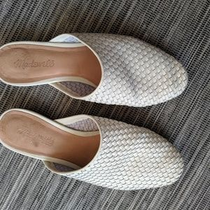 White woven leather slides size 7.5